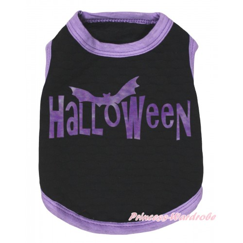 Halloween Light Purple Piping Black Sleeveless Pet Shirt Top & Halloween Painting DC328