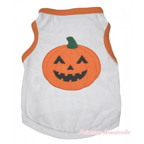 Halloween Orange Piping White Sleeveless Pet Shirt Top & Pumpkin Print DC331