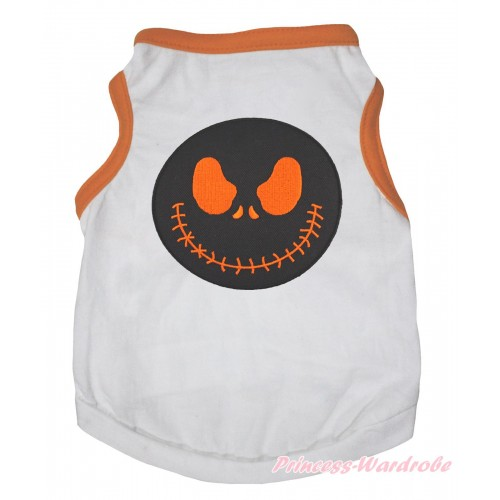 Halloween Orange Piping White Sleeveless Pet Shirt Top & Nightmare Before Christmas Jack Print DC332