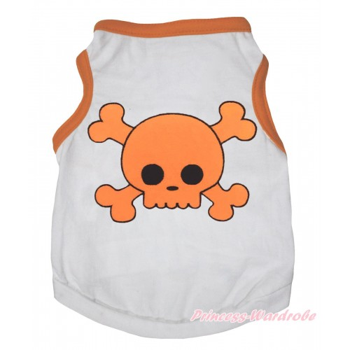 Halloween Orange Piping White Sleeveless Pet Shirt Top & Orange Skeleton Print DC333