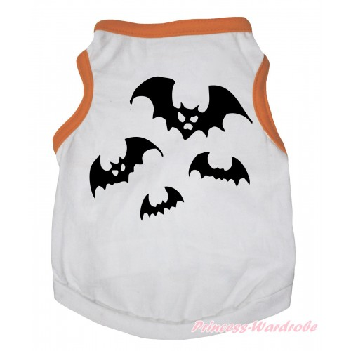 Halloween Orange Piping White Sleeveless Pet Shirt Top & Bat Painting DC335