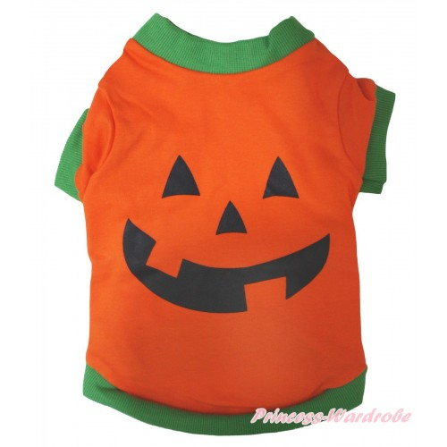 Halloween Kelly Green Piping Orange Pumpkin T-Shirt Pet Top DC338