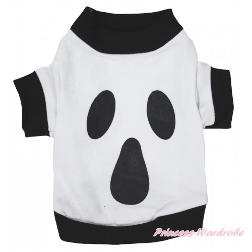 Halloween Black Piping White Ghost T-Shirt Pet Top DC342