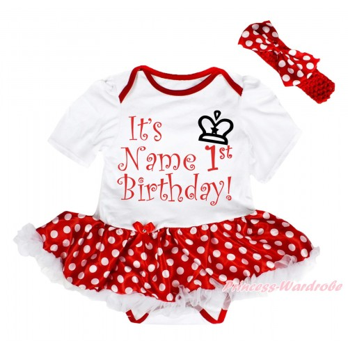 White Baby Bodysuit Minnie Dots White Pettiskirt & It's Name 1st Birthday Painting JS5638