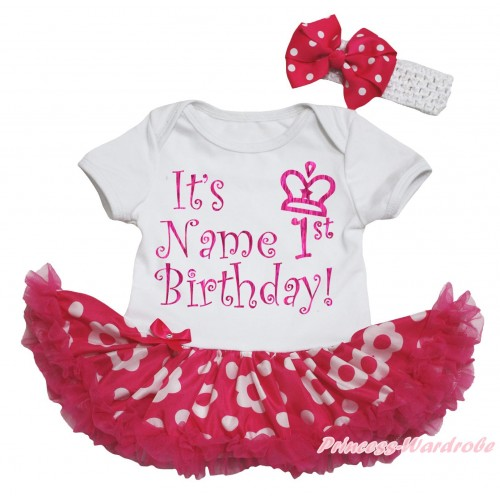 White Baby Bodysuit Hot Pink White Flower Pettiskirt & It's Name 1st Birthday Painting JS5640