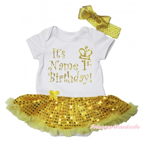 White Baby Bodysuit Bling Yellow Sequins Pettiskirt & It's Name 1st Birthday Painting JS5641