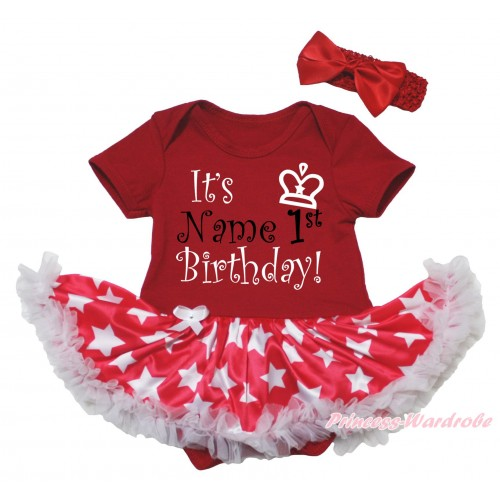 Red Baby Bodysuit Patriotic American Star Pettiskirt & It's Name 1st Birthday Painting JS5643