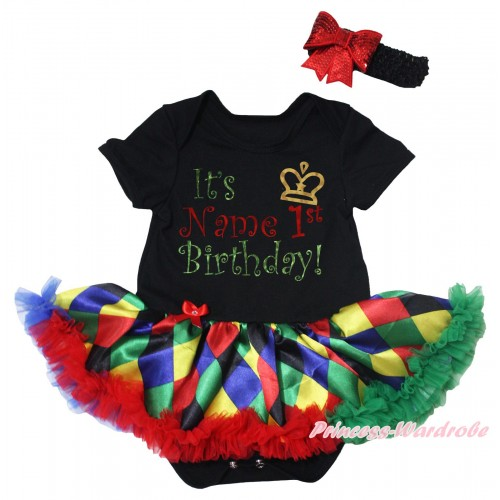 Black Baby Bodysuit Rainbow Diamond Pettiskirt & It's Name 1st Birthday Painting JS5644
