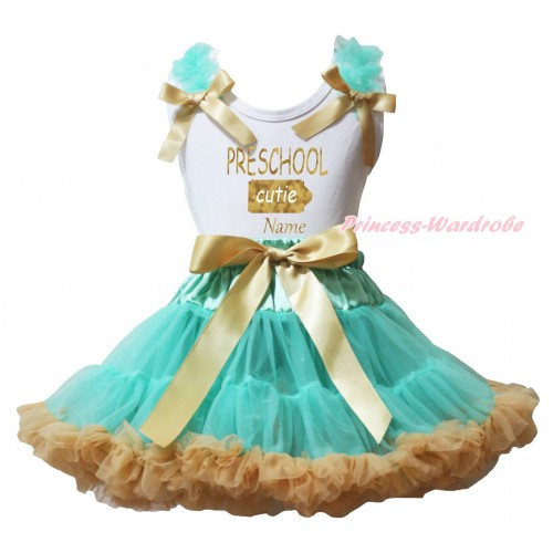 White Tank Top Aqua Blue Ruffles Goldenrod Bows & Sparkle PRESCHOOL Cutie Name Painting & Aqua Blue Goldenrod Pettiskirt MG2346