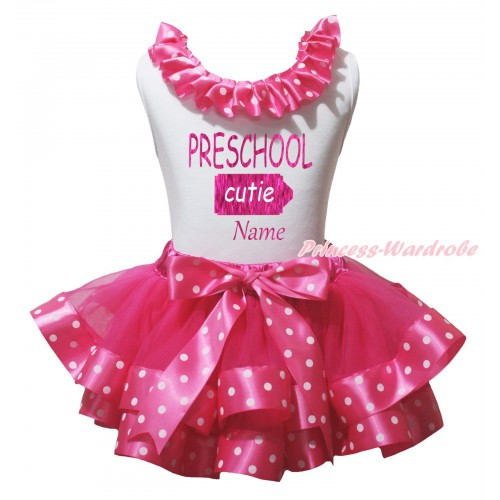 White Pettitop Hot Pink White Dots Lacing & Sparkle PRESCHOOL Cuties Name Painting & Hot Pink White Dots Trimmed Pettiskirt MG2356
