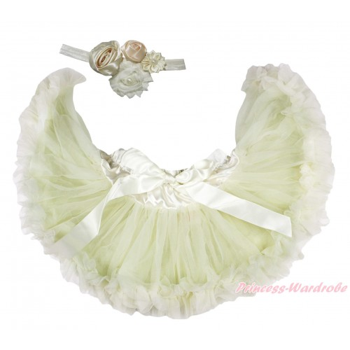 Cream White Newborn Pettiskirt & Cream White Headband & Bunch Of Cream White Vintage Garden Pearl Rosettes Flower N303