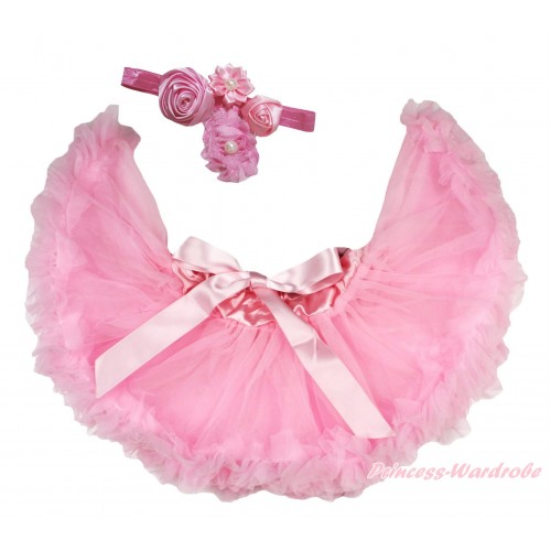 Light Pink Newborn Pettiskirt & Dusty Pink Headband & Bunch Of Dusty Pink Vintage Garden Pearl Rosettes Flower N306