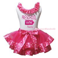 White Baby Pettitop Hot Pink White Dots Lacing & Sparkle PRESCHOOL Cutie Name Painting & Hot Pink White Dots Trimmed Baby Pettiskirt NG2183
