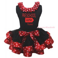 Black Baby Pettitop Minnie Dots Lacing & PRESCHOOL Cutie Name Painting & Black Minnie Dots Trimmed Baby Pettiskirt NG2186