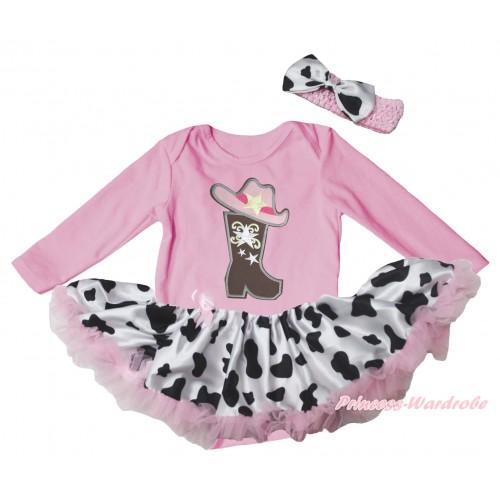 Light Pink Long Sleeve Baby Bodysuit Jumpsuit & Cowgirl Hat Boot Print & Light Pink Milk Cow Pettiskirt & Light Pink Headband Milk Cow Satin Bow JS5767