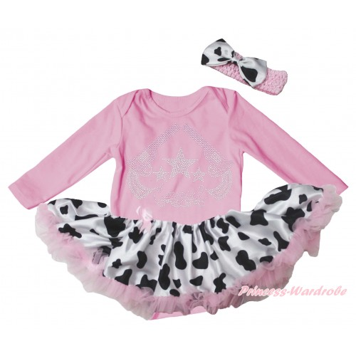 Light Pink Long Sleeve Baby Bodysuit Jumpsuit & Sparkle Rhinestone Cowgirl Print & Light Pink Milk Cow Pettiskirt & Light Pink Headband Milk Cow Satin Bow JS5768