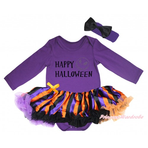 Halloween Dark Purple Long Sleeve Baby Bodysuit Jumpsuit & Happy Halloween Painting & Jack Print & Dark Purple Orange Black Striped Pettiskirt & Dark Headband Black Satin Bow JS5785