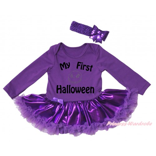 Halloween Dark Purple Long Sleeve Baby Bodysuit Jumpsuit & My First Halloween Painting & Jack Print & Dark Purple Pettiskirt & Dark Purple Headband Sequins Bow JS5797