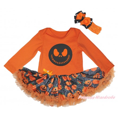 Halloween Orange Long Sleeve Baby Bodysuit Jumpsuit & Jack Print & Spider Web Pumpkin Pettiskirt & Orange Headband Black White Dots Orange Bow JS5805