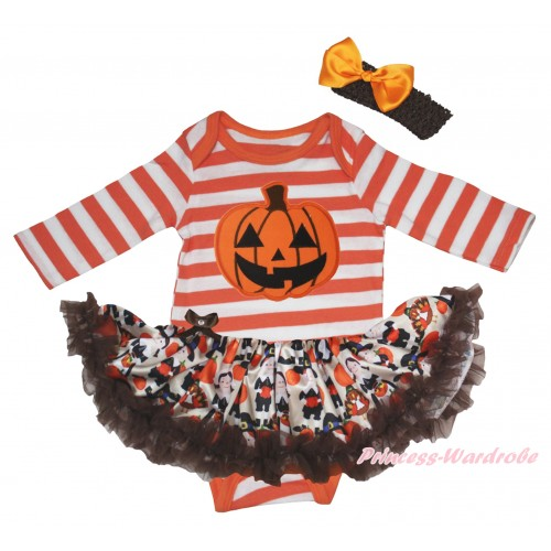 Halloween Orange White Striped Long Sleeve Baby Bodysuit & Pumpkin Print & Turkey Pumpkin Pettiskirt & Black Headband Orange Satin Bow JS5810
