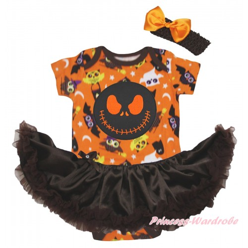 Halloween Orange Night Owl Baby Bodysuit Brown Pettiskirt & Nightmare Before Christmas Jack Print JS5815