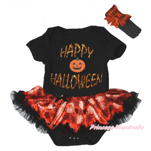 Halloween Black Baby Bodysuit Orange Black Spider Web Pettiskirt & Sparkle Happy Halloween Painting & Pumpkin Print JS5835
