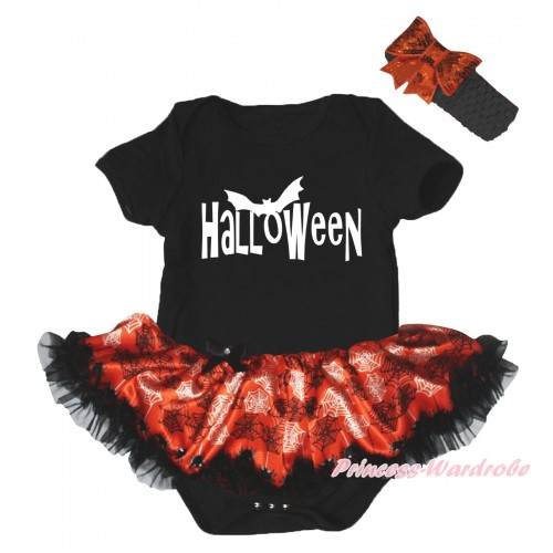 Halloween Black Baby Bodysuit Orange Black Spider Web Pettiskirt & White Halloween Painting JS5836