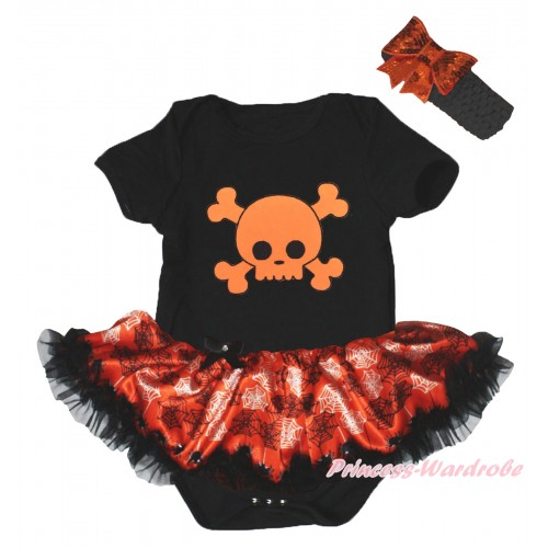 Halloween Black Baby Bodysuit Orange Black Spider Web Pettiskirt & Orange Skeleton Print JS5838