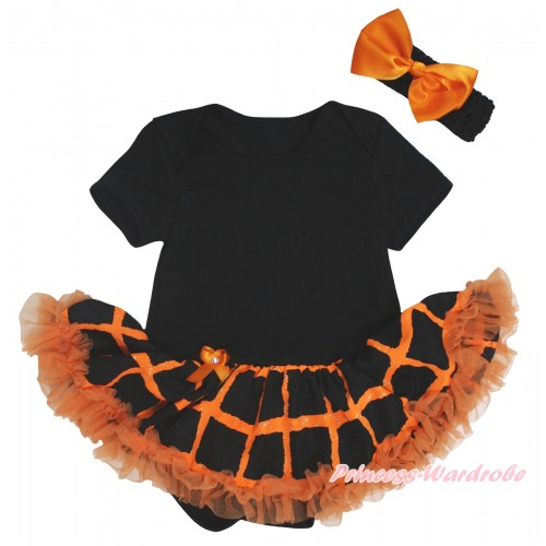 Halloween Black Baby Bodysuit Orange Black Checked Pettiskirt JS5848
