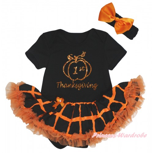Thanksgiving Black Baby Bodysuit Orange Black Checked Pettiskirt & Sparkle 1st Thanksgiving Painting JS5849