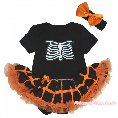 Halloween Black Baby Bodysuit Orange Black Checked Pettiskirt & Skeleton Rib Print JS5850