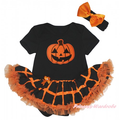 Halloween Black Baby Bodysuit Orange Black Checked Pettiskirt & Orange Pumpkin Print JS5851