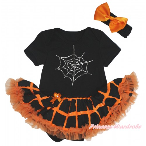 Halloween Black Baby Bodysuit Orange Black Checked Pettiskirt & Sparkle Rhinestone Spider Web Print JS5852