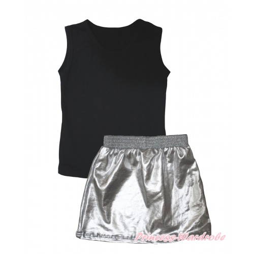 Black Tank Top & Silver Grey Girls Skirt Set MG2461