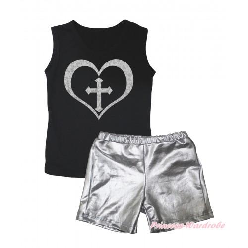 Black Tank Top Sparkle Cross Heart Painting & Silver Grey Girls Pantie Set MG2463