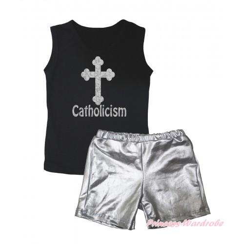 Black Tank Top Sparkle Cross Catholicism Painting & Silver Grey Girls Pantie Set MG2464