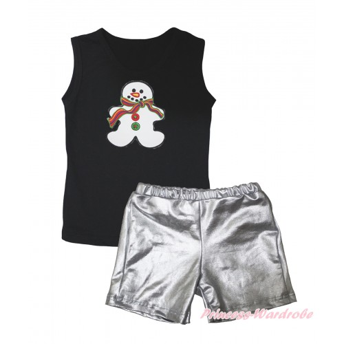 Black Tank Top Christmas Gingerbread Snowman Print & Silver Grey Girls Pantie Set MG2466