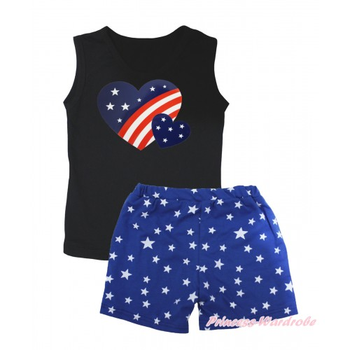 American's Birthday Black Tank Top Patriotic American Heart Painting & Royal Blue White Star Girls Pantie Set MG2470