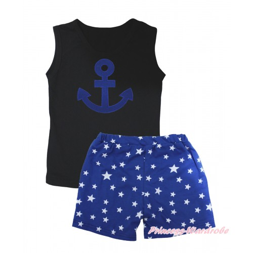 Black Tank Top Royal Blue Anchor Print & Royal Blue White Star Girls Pantie Set MG2471