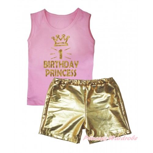 Light Pink Tank Top Sparkle 1st Birthday Princess Crown Painting & Gold Girls Pantie Set MG2473