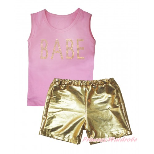 Light Pink Tank Top Sparkle Rhinestone BABE Print & Gold Girls Pantie Set MG2474