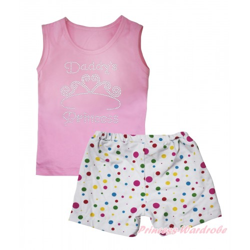 Light Pink Tank Top Sparkle Rhinestone Daddy's Princess Print & White Rainbow Dots Girls Pantie Set MG2480