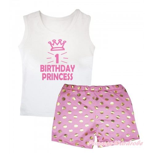 White Tank Top 1st Birthday Princess Crown Painting & Light Pink Gold Dots Girls Pantie Set MG2490