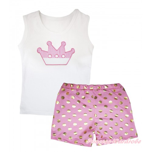White Tank Top Crown Print & Light Pink Gold Dots Girls Pantie Set MG2494