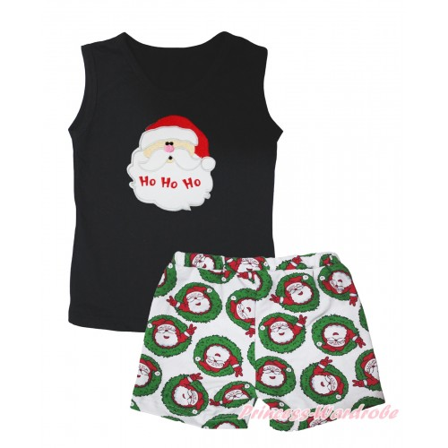 Christmas Black Tank Top Santa Claus Print & Xmas Santa Claus Girls Pantie Set MG2518