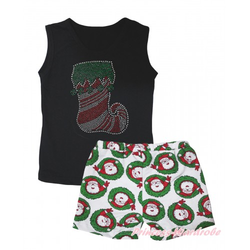 Christmas Black Tank Top Sparkle Rhinestone Christmas Stocking Print & Xmas Santa Claus Girls Pantie Set MG2520