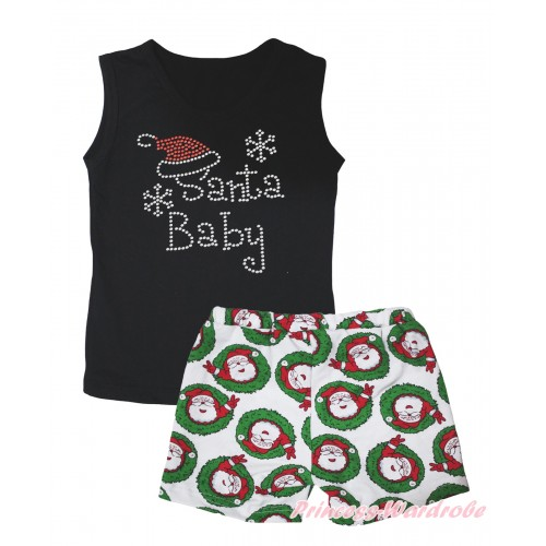 Christmas Black Tank Top Sparkle Rhinestone Santa Baby Print & Xmas Santa Claus Girls Pantie Set MG2521