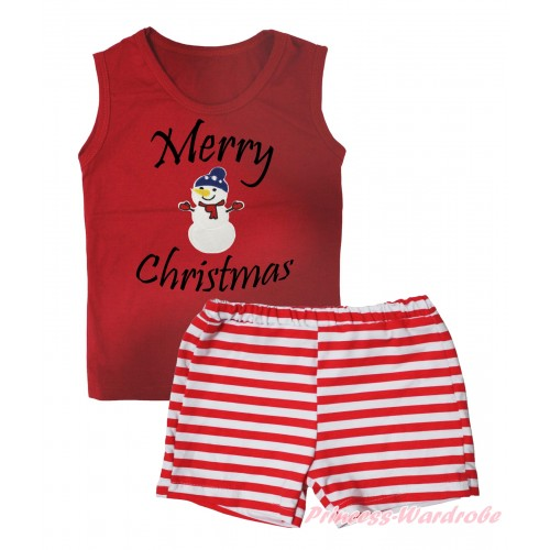 Christmas Red Tank Top Merry Christmas Painting & Big Nose Snowman Print & Red White Striped Girls Pantie Set MG2537
