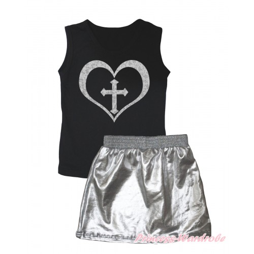 Black Tank Top Sparkle Cross Heart Painting & Silver Grey Girls Skirt Set MG2539