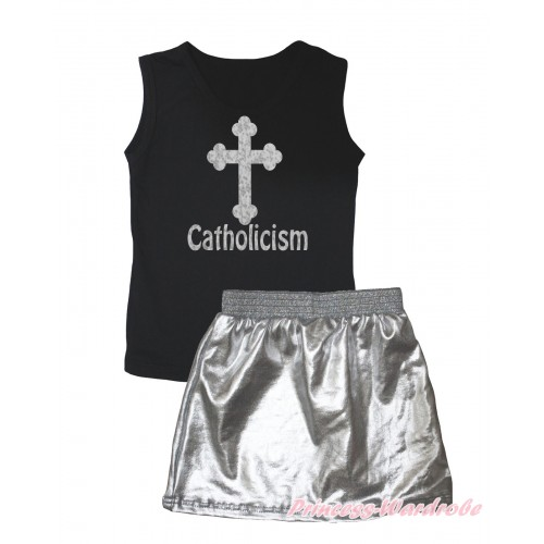 Black Tank Top Sparkle Cross Catholicism Painting & Silver Grey Girls Skirt Set MG2540